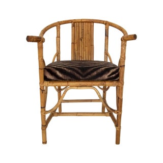 Chinese Ming Style Bamboo Armchair, Kravet Cushion