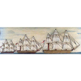 Sailor's Large Woolwork Woolie of Three Royal Navy Ships with Trapunto Sails