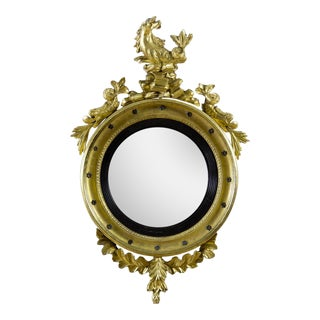 Classical Giltwood Girandole Mirror with Seahorse and Dolphins