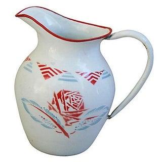 1930s French Porcelain Enamelware Jug/Pitcher