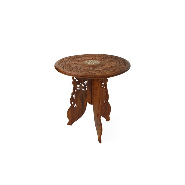 Table Indian Hand Carved and Inlaid Side Table - Image 3 of 5