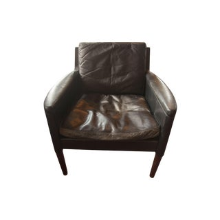 Black Mid-Century Worn Leather Lounge Chair