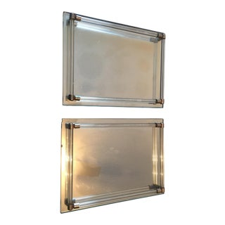 Hollywood Regency Lucite Chrome Mirror Trays - A Pair