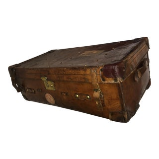 Old English Large Leather Trunk