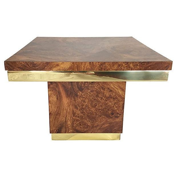 Burl and Brass Accent Table - Image 3 of 5