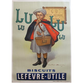 1930s Original Vintage Advertisement Biscuits LU Lefèvre-Utile, Le Petit Écolier