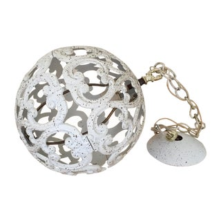 Cream and Gold Iron Globe Pendant