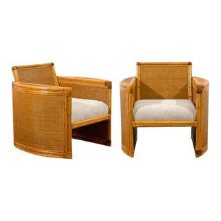 Unusual Pair of Bamboo and Raffia Lounge/Club Chairs