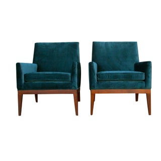Mid-Century Teal Velvet Chairs - A Pair
