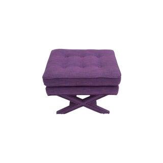 Purple Upholstered Footstool Ottoman