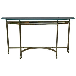 La Barge Style Vintage Brass and Glass Console
