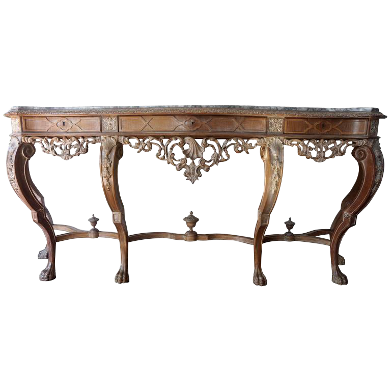 Spanish Console Table With Marble Top By Mariano Garcia