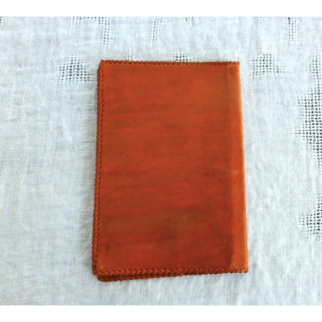 Mid-Century Hand-Crafted Brown Leather Book Cover - Image 5 of 5