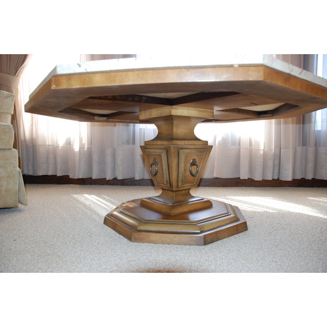 Distinctive Octogonal Marble-Top Cocktail Table - Image 3 of 6