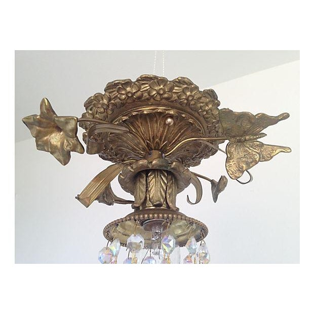 1930s Brass & Crystal Ceiling Light - Image 4 of 6