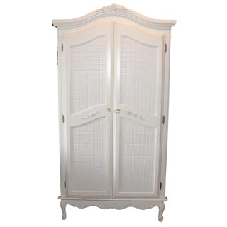 French Style Cane White Armoire by Art for Kids