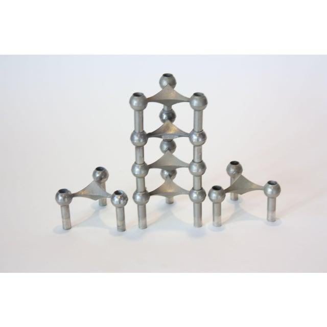 Set of Six Nagel Modular Candlesticks in Nickel - Image 2 of 9
