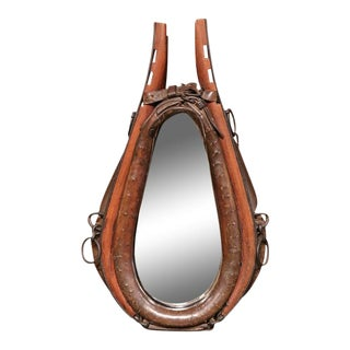 19th Century French Leather Horse Collar Mirror