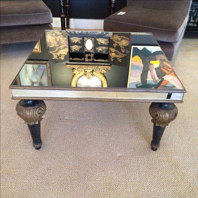 Image of Mid-Century Mirrored Top & Carved Leg Coffee Table