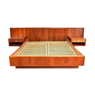D-Scan Mid-Century Danish Teak Queen Bed & Floating Nightstands