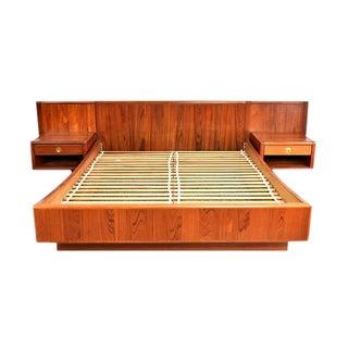 D-Scan Mid-Century Danish Teak Queen Bed & Floating Nightstands