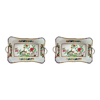 "Spode Stone China ""Double Peacock"" Pattern Pair of Baskets"