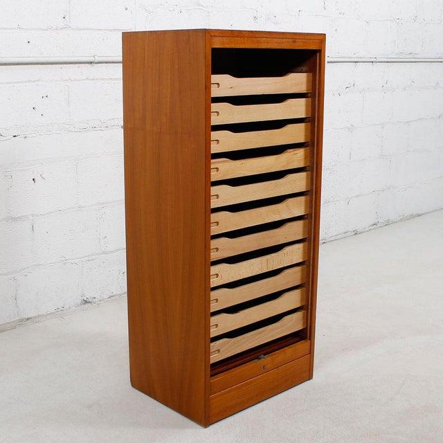 Tall Teak Locking Tambour Door Jewelry Cabinet - Image 3 of 9