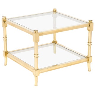 Vintage Maison Raphael Brass and Glass Side Table