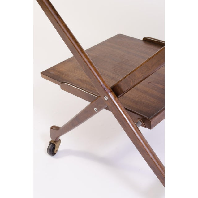 Danish Folding Walnut Bar Cart With Serving Tray - Image 7 of 11
