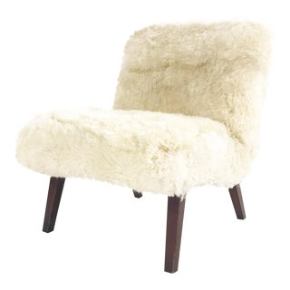 Vintage Lounge Chair Restored in Brazilian Sheepskin