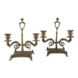 Brass Footed Two Light Candelabras- A Pair
