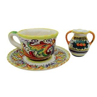 Italian Ceramic Cup & Creamer Set