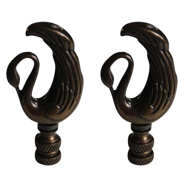Image of Art Deco-Style Bronze Swan Finials - a Pair