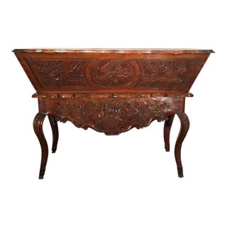 18th Century French Country Carved Walnut Petrin Dough Box