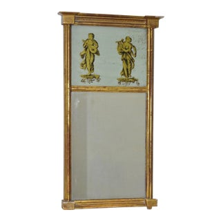 Late 19th C. Trumeau Mirror w/ Reverse Gilded Musicians