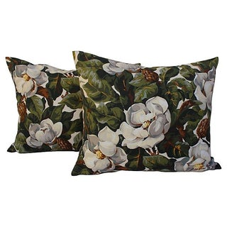 Magnolia Tree Floral Pillows - Pair