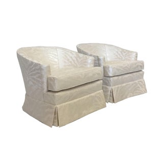 Silver Zebra on Cream Club Chairs - A Pair