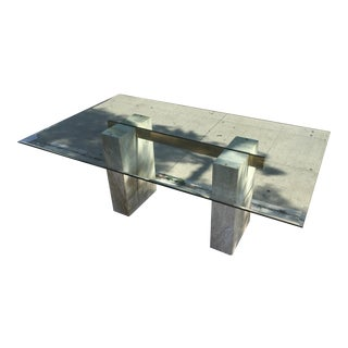 1970's Italian Travertine & Glass Dining Table