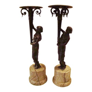 Art Deco Bronze Figural Candle Holders - A Pair