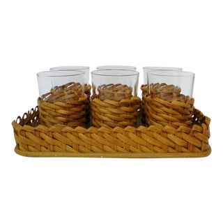 Vintage Glasses in Wicker with Tray - 7 Pieces