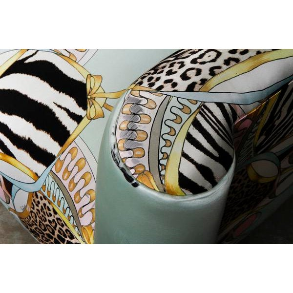 Roberto Cavalli Custom Upholstered Silk Loveseat - Image 6 of 9