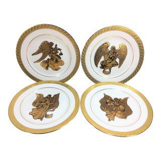 Vintage Renaissance Angels White & Gold Porcelain Dinnerware or Decorative Plates - Set of 4