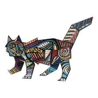 Painted Metal Cat Sculpture