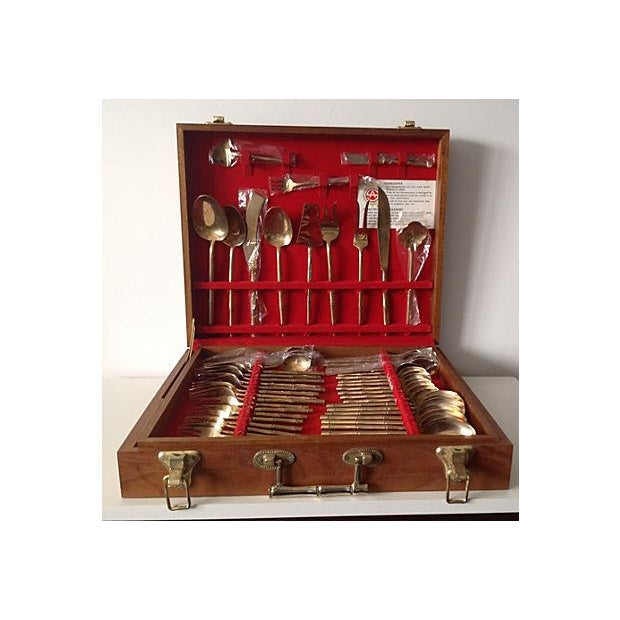 Bronze Bamboo Flatware Set with Case - Set of 101 - Image 2 of 8