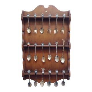 Italian Collectors Spoons in Wood Wall Rack- Set of 18