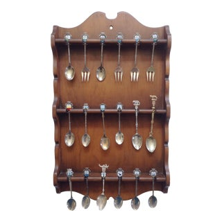Italian Collectors Spoons in Wood Wall Rack- Set of 18