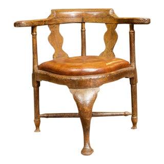 Italian Walnut Corner Chair with Leather Drop Seat, circa 1780