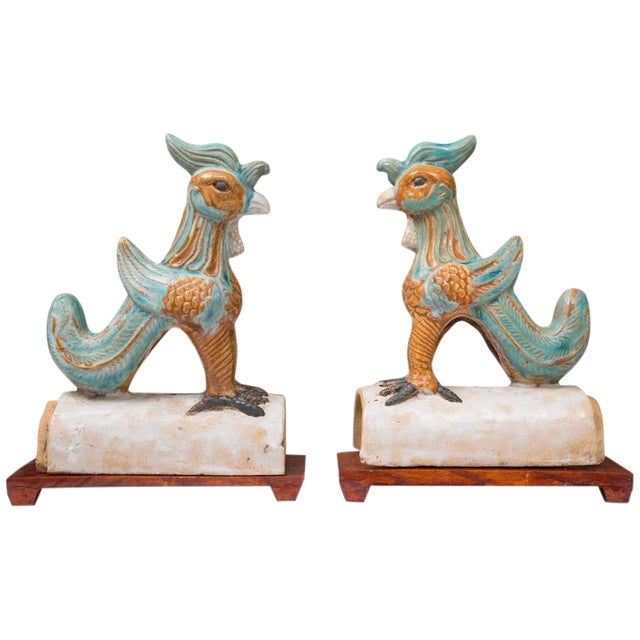 Image of Pair of Chinese Glazed Terracotta Roof Tiles on Wood Stands