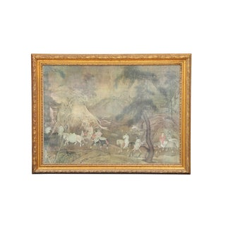 Gilt Wood Oriental Horse Ride Artwork