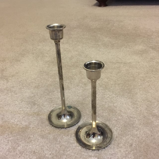 Image of Brass and Silver Plated Candlesticks - Pair